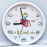 Giow Relojes y Relojes de Pulsera Moderno Arte Pegatinas Relojes para niños Relojes de Arte Personal Día de la Madre Relojes de Cuarzo, Otros, 26 cm Pez Blanco, 26cm White School, Other