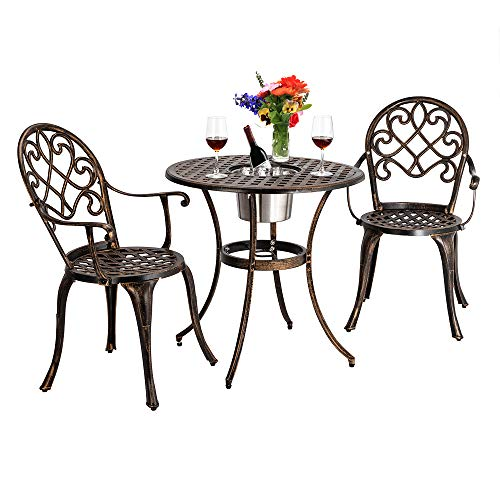 Outdoor Chair Set, Cast Aluminum Round Table and Chair 3 Piece Set Garden Chair Armchair All-Weather Patio Furniture Bronze Furniture for Yard, Garden Courtyard Park (Chair Table with ice Bucket)