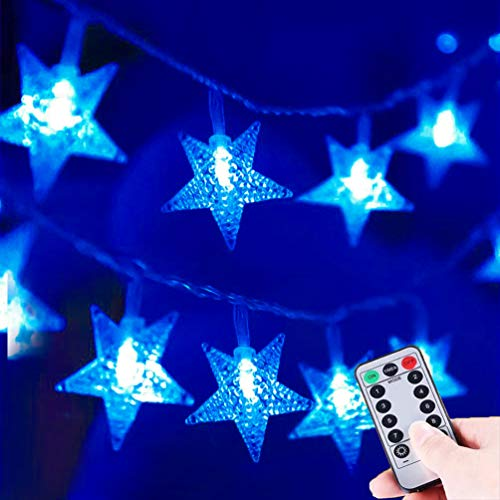 HUGSVIK 25Ft 50 LED Blue Star Lights for Bedroom,8 Modes Battery Operated Blue Christmas Lights, LED Star String Lights for Christmas Wedding Party Bedroom Kids Bed Canopy Camping Patio Umbrella