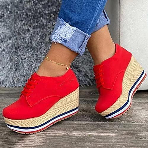 Zapatillas de Deporte con Plataforma de Cuña para Mujer Mocasines Punta Redonda con Cordones Zapatos Cómodos de Cuero Zapatillas para Caminar
