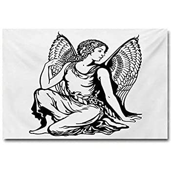 ScottDecor Zodiac Virgo Posters for Guys Young Woman Artistic Figure with Angel Wings Monochrome Tattoo Art Design Funny Black and White L16 x H24 Inch