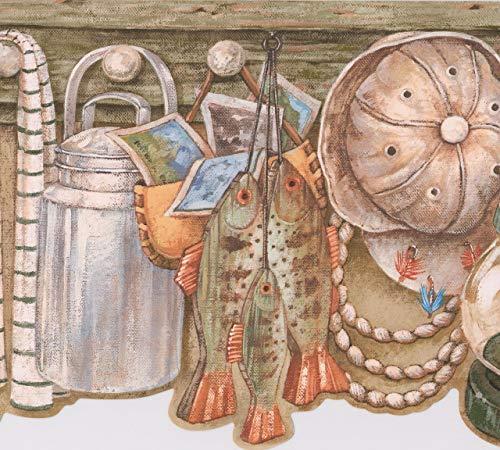 Retro Art Regal mit Korb Fisch Milch Krug Lampe Hut hängen an dem Haken Vintage Wallpaper Border Retro-Design, Roll-15' x 9''