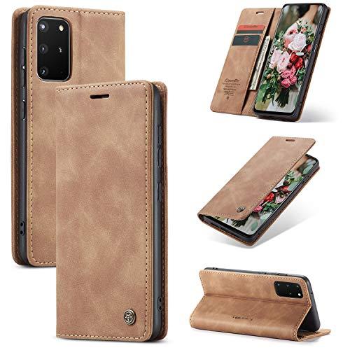FMPC Handyhülle für Samsung Galaxy A91 Premium Lederhülle PU Flip Magnet Hülle Wallet Klapphülle Silikon Bumper Schutzhülle für Samsung Galaxy S10 lite Handytasche - Braun