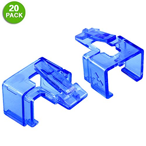 Brainstormer Plug SOS Clips, for RJ45 Connector Fix/Repair and Color Coding/Management, 20 Pack in Blue. NO Crimp Tool Needed