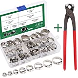 Keadic 80Pcs 1/4'-15/16' 304 Stainless Steel Single Ear Hose Clamps Pex Pinch Clamp Assortment Kit withEar...