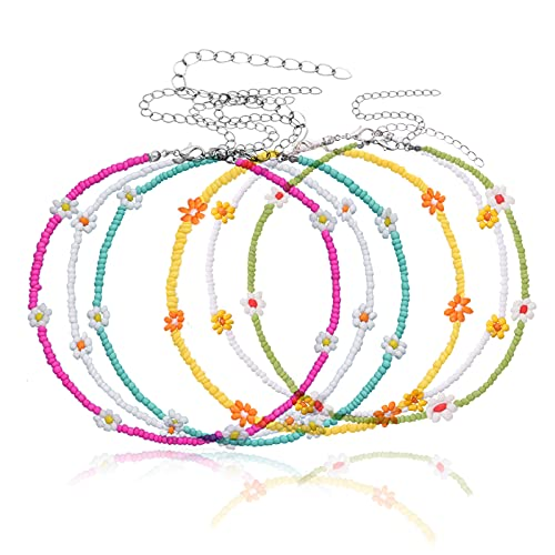 6 Pieces Women Bohemian Necklaces Seed Bead, Colorful Bead Necklace, Boho Handmade Flower Necklace, Beaded Choker Necklace for Women Girls (A)