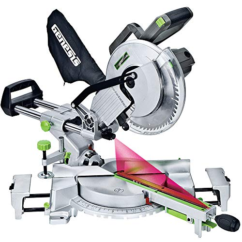 """Genesis GMSDR1015LC 15 Amp 10"""" Sliding Compound Miter Saw with Laser Light, Electric Brake, Spindle Lock, Dust Bag, Extension Wings, and 60T Carbide-Tipped Blade"""