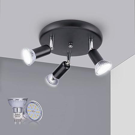 Bojim Luminaire Plafonnier LED 3 Spot Orientable 350° Noir, 3 x 6W Ampoules GU10 Blanc Chaud 2800K 2835 SMD, Lampe Plafond 230V 600LM, Spot Plafond, IP20 Ra82 120° Angle Pour Chambre