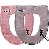 JPYH 2 Pezzi Universale Coprisedile per WC, Copriwater in Tessuto Lussuoso con Cerniera, Squisito Motivo a Cartone Animato,Lavabile in Lavatrice (Viola + Rosa)