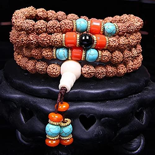 cakunmik 108 Pulseras Naturales Vajra Bodhi Brazaletes Hombres y Mujeres Rosario Pulseras Multi-Capa Bodhi Pulseras
