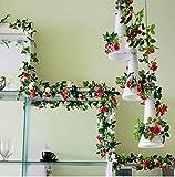 JIAFENG Guirnaldas de Rosas de Seda Artificial Flores Que decoran el Arte de simulación Guirnalda de Flores Que cuelgan de Vid Flores de imitación de Mimbre y Hojas Decorativas casa de Fiesta de