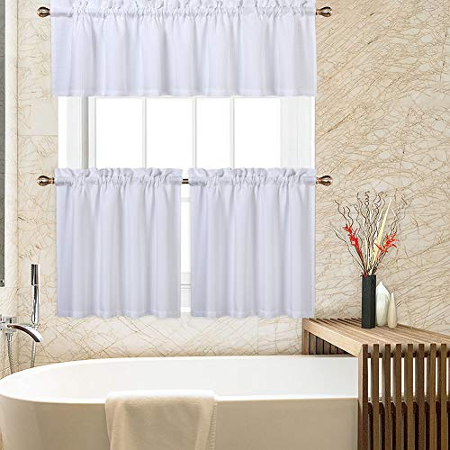 CAROMIO White Kitchen Curtains, 3 Pcs Waffle Woven Texutred 24 Inch Tier Curtains and Valance Set Bathroom Window Curtains Kitchen Cafe Curtains, White
