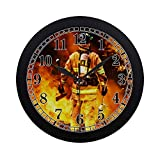 InterestPrint Fire Firefighter Fireman Searches for Possible Survivors Round Quartz Wall Clock Large Number Clock for Office School Kitchen Bedroom Living Room Decor, Black