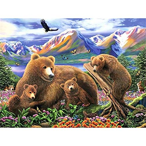 5D DIY Diamond Painting Kits for Beginner, Bear and Mom 40x50cm Diamond Art Full Drill Gem Picture Jewel Crystal Rhinestone Embroidery Home Decoration Gift