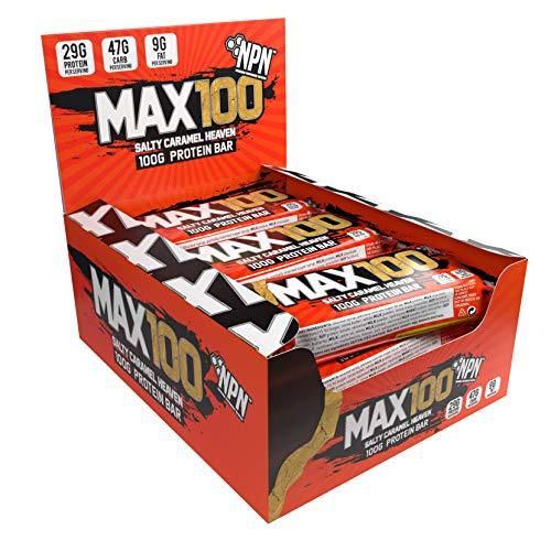 NPN MAX 100 Protein & Carb Riegel | Proteinriegel für Sport, Premiumgeschmack | 9x100g Salziges Karamell Himmel