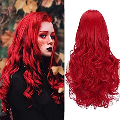 Amazon - Save 80%: Long Wavy Wine Red Wigs Lace Front Natural Synthetic Wigs Cosplay C…