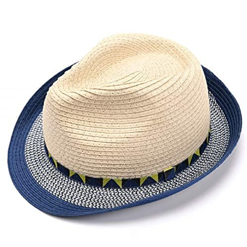 accsa Kinder Sonnenhut aus Stroh Panama Hut Fedora Strohhut für Junge Sonnenschutz Anti-UV für Garten Strand Reisen, One Size, Beige