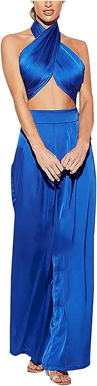 Women Two Piece Outfits Halter Clubwear Streetwear Solid Color Criss Cross Bra and Wide Leg Pants Sets Loungewear
