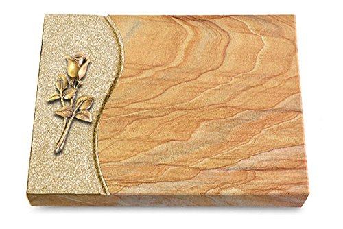 MEMORUM Grabmale Grabtafel, Grabplatte, Grabstein, Grabkissen, Urnengrabstein, Liegegrabstein Modell Wave 40 x 30 x 3-4 cm Rainbow-Granit, poliert inkl. Gravur (Bronze-Ornament Rose 8)