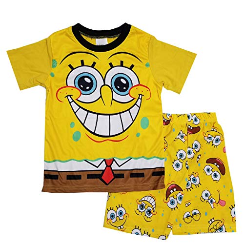 NING Little Boys 2-Piece Pajama Set King Bob Cotton Short Sleeve Pjs Sleepwear 2-7T (Spongebob Squarepants, 5T)