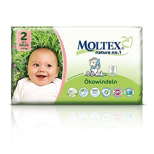 MOLTEX Nature No1 Lot de 126 couches écologiques pour bébé Taille 2 (3-6 kg) 3 x 42 pièces