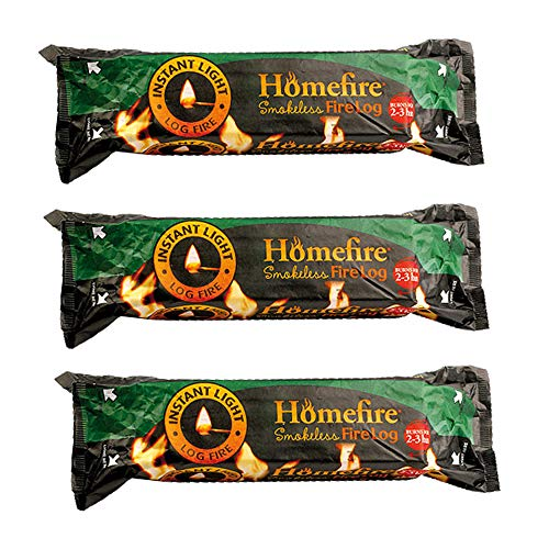 3 x Wood Smokeless Fire Logs Chimineas Stoves 2-3 hrs BBQ Grill Fireplace Light