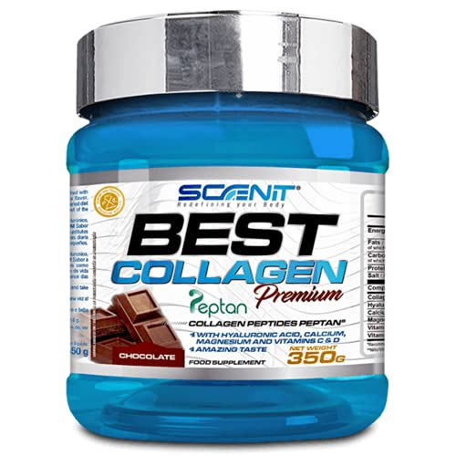 Best Collagen - Colágeno con magnesio, Vitamina D, Vitamina C, Ácido Hialurónico para articulaciones y huesos | Colágeno hidrolizado Peptan en polvo para los huesos articulaciones (350 g) (Chocolate)