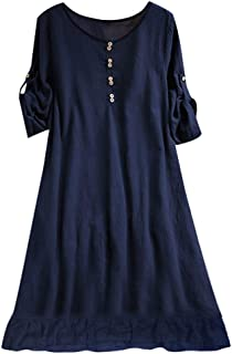 COSEZIN 2019 New Plus Size Solid O-Neck Casual Half Sleeve Button Loose Dress for Women M-5XL