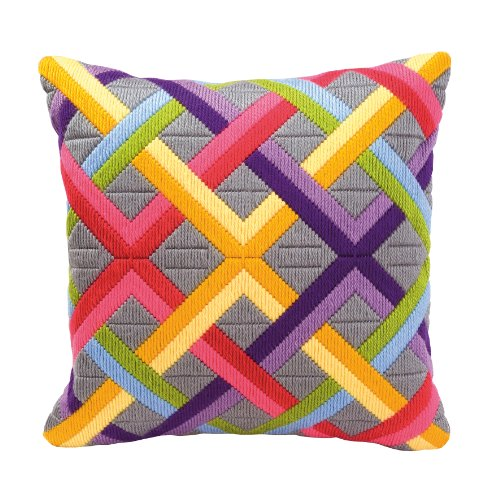 Vervaco Bold Geometric Style Long Stitch Cushion Kit 1, Multi-Colour