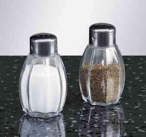 FACKELMANN S/P-Streuer 2erSet Salz-und Pfefferstreuer 2er Set Jade INOX, Glas, Silber, ca. 7,5cm, 2-Einheiten
