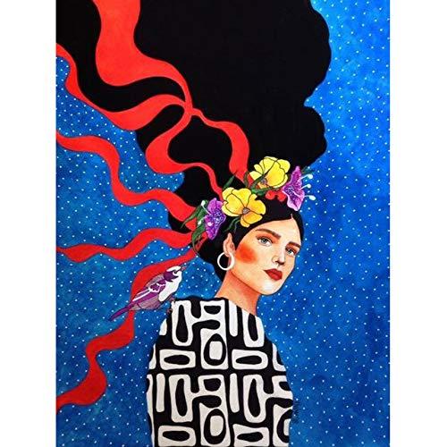 Abstrakte Blumen Mädchen Haar Wandkunst Leinwand Malerei Vogel Nordic Poster Wohnzimmer Retro Bilderrahmen 40X60cm NoFrame