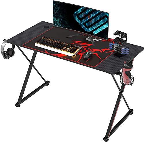 EUREKA ERGONOMIC Gaming Tisch X47 Gaming Schreibtisch Gaming Computertisch PC Schreibtisch mit Getränkehalter und Kopfhörerhalter 120 * 60 cm Schwarz