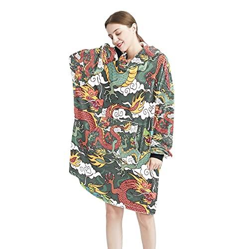 Manta con capucha con diseño de mandala azul con capucha, suave, con capucha, manta cálida, para mujeres y hombres, talla única, Color-2, Talla única