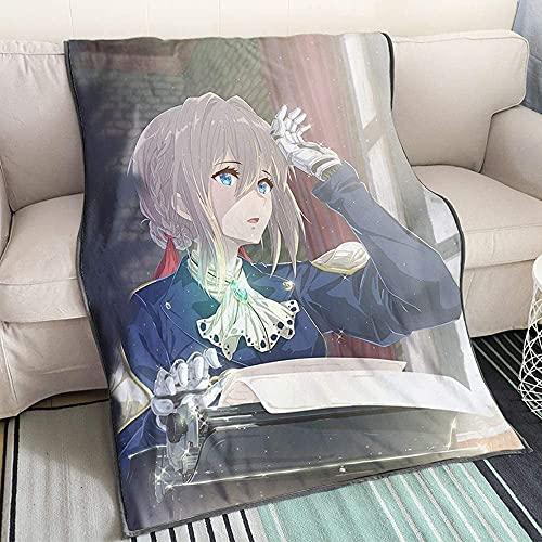 MixFactory Violet Evergarden Series Pattern 3D Impreso Suave Flannel Flannel Manta Edredón Dibujos Animados Anime Personajes Anime Fans Otaku Ropa de Cama (Color : Flannel, Size : 150x200cm)