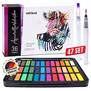 int!rend Acuarelas Profesionales   Set de Pinturas Acuarelas Compuesto por 36 Colores Brillantes, 2 Pinceles Acuarelas…
