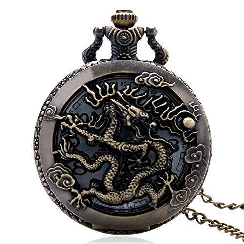 FZYE Reloj de Bolsillo, Reloj Vintage, Collar, Zodíaco, dragón, Relojes Huecos, Mujeres, Hombres, Cuarzo, libélula, Collar, Colgante, Regalos