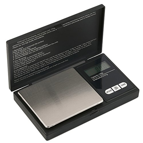 Hoosiwee Báscula Digitales de Precisión,100g 0.01g Balanzas de Portátiles, Báscula de Joyería, con Pantalla LCD, Plataforma de Acero Inoxidable, Función de Tara