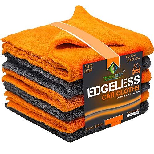 Towelogy Professionelle Mikrofasertücher ohne Kanten, 520 g/m², schnelltrocknend, für Auto/Motorrad, zum Polieren, Waschen, streifenfrei und fusselfrei, 40 x 40 cm, grau/orange, 6 Stück