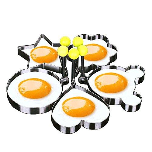 Makidar 5 formas molde de huevo frito anillo de huevo tallador de huevo SUS304 acero inoxidable panqueques molde anillos Cookies cutter cookies molde