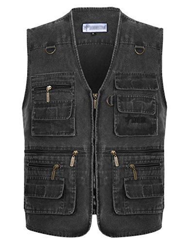 Gihuo Men's Casual Outdoor Leisure Lightweight Pockets Fishing Photo Journalist Denim Vest Plus Size (XX-L, Grey)