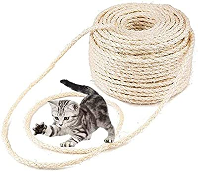 MXiiXM Sisal Rope, Diameter 8mm Premium Durable Unoiled Sisal Twine - 100% Natural Twisted Fiber Twine Hemp Rope for Repairing or DIY Scratcher for Cat Tree Tower (1/3inch(8mm), 33FT, Sisal)