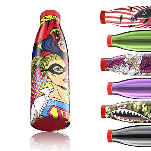 Bboom Borraccia Termica 520 ml | Bottiglia Acqua in Acciaio Inox, Senza BPA, 24 Ore Freddo & 12 Caldo, Borracce per Scuola, Sport, all'Aperto, Palestra, Yoga | Idea Regalo (Supereroi Fumetti)
