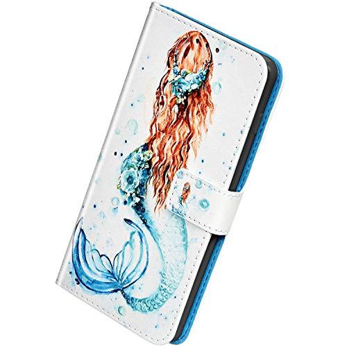 Herbests Kompatibel mit Samsung Galaxy A80 / A90 Handyhülle Hülle Flip Case Bunt Muster Leder Tasche Schutzhülle Klappbar Bookstyle Lederhülle Ledertasche mit Magnet Kartenfach,Frau