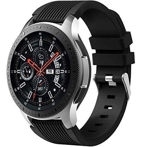 Dirrelo Correa Compatible con Samsung Galaxy Watch 3 45mm/Galaxy Watch 46mm/Huawei GT 2 46mm, 22mm Deportiva Muñequeras Suave Silicona Reemplazo para Samsung Gear S3 Frontier, Hombres Mujeres, Negro