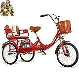 Triciclo Bicicleta para Adultos de 20 Pulgadas y 3 Ruedas Bicicletas Plegables Asiento cómodo, Canasta de Alimentos Trasera agrandada, Cadena Simple, Horquilla Delantera amortiguadora