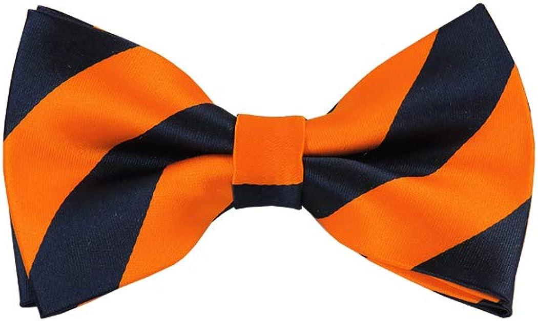 Navy and Orange College Stripe Pre-Tied Bow Tie