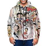 Sountll Betty Boop Men's 3D Printed Hoodies, Comfortable and Soft Sports Hoodies, Men's Hoodies, Youth Sweatshirts, Long-Sleeved Sweaters Black