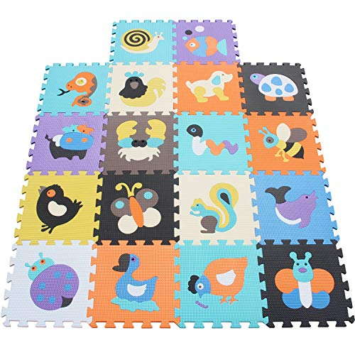 XMTMMD Life Soft Play Mats für Kinder Pure Colour Eva-Schaum Mats Spielmatte Ungiftig Krabbelmatte Eva-Schaum Bodenbelag jiasaw Matte Stylische Puzzlematte für Babys 18PCS AMT1015G3210