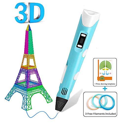 Bolígrafo 3D Para Niños,Pluma de Impresión 3D,Bolígrafo De Impresión 3D Con Recambios De Filamentos y Plantillas Digitales Para Niños, Bolígrafo De Impresora 3D De Baja Temperatura
