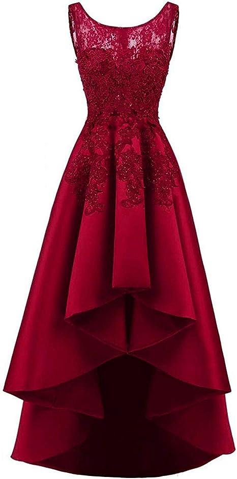 Huini Elegant Abendkleider Lang Ballkleider Hochzeitskleider Satin Vorne Kurz Hinten Lang Brautkleider Standesamt Cocktailkleider Amazon De Bekleidung